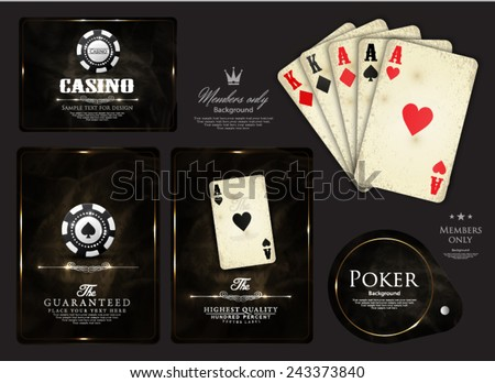 Casino card design-poker-ace-vip-elegant-vintage - stock vector