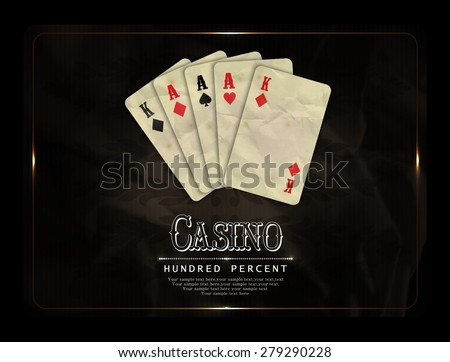 Casino card design-poker cards-vintage - stock vector