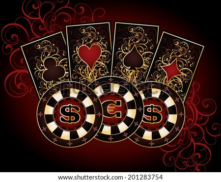 Casino card with poker elements, vector illustration