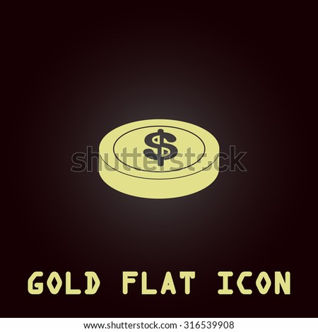 Casino chip. Gold flat vector icon. Symbol for web and mobile applications for use as logo, pictogram, infographic element - stock vector