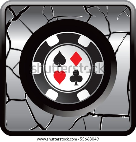casino chip gray cracked web button - stock vector
