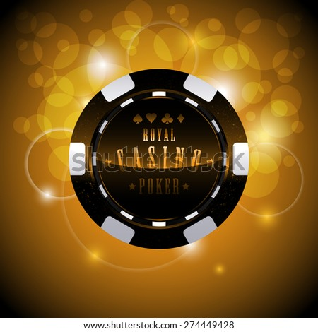 Casino chip on shining background with bokeh - stock vector