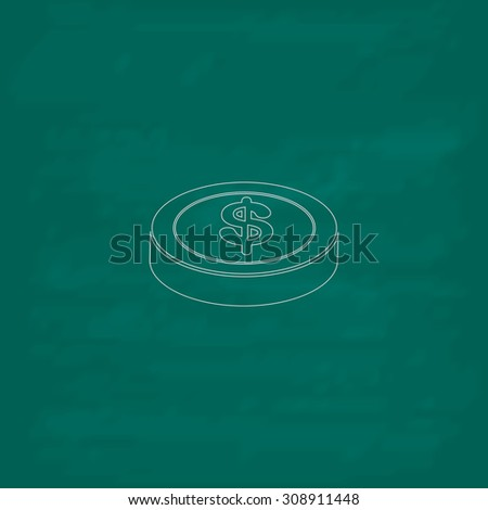 Casino chip. Outline vector icon. Imitation draw with white chalk on green chalkboard. Flat Pictogram and School board background. Illustration symbol - stock vector
