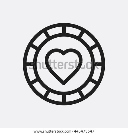 Casino chip with diamonds icon illustration isolated vector sign symbol