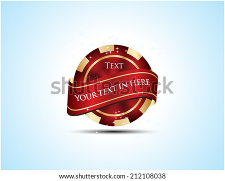 Casino Chip with ribbon - stock vector