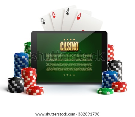 casino chips and mobile isolated on white - stock vector