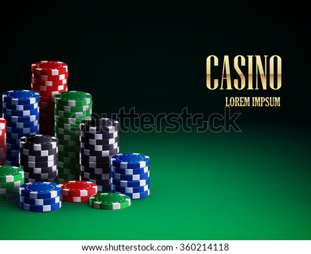 casino chips isolated on green background - stock vector