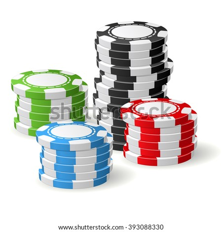 Casino chips stacks - gambling chips four piles
