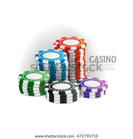 Casino chips stacks on a white background isolated . Vector EPS 10 design