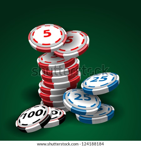 Casino chips stacks on green background - stock vector