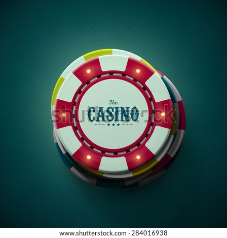 Casino chips, top view, eps 10 - stock vector