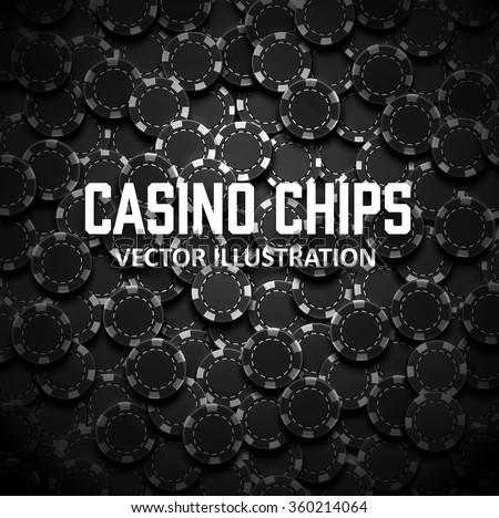 casino chips top view with shadows  - stock vector