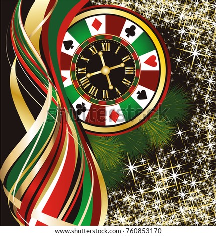 Casino Christmas background, vector illustration