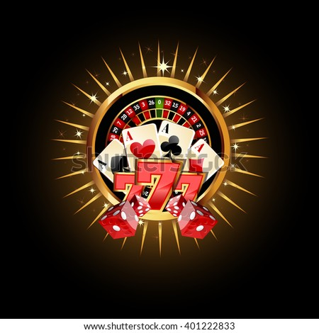 Casino  Composition with Roulette Wheel, Playing Cards ans Dice. Gambling Casino Vector Illustration. Casino Games Design.