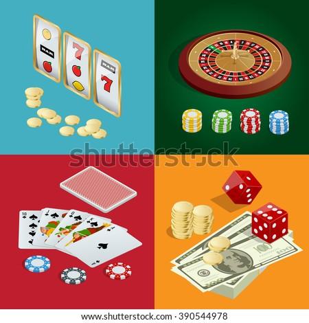 Casino concept, Casino icon, Casino 3d, Casino vector, Casino background, Casino cards, Casino chips, Casino craps, Casino roulette, Casino isometric, Casino illustration, Casino poker game - stock vector