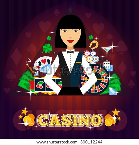 Casino dealer concept with cards roulette cocktail and shamrock flat vector illustration  - stock vector