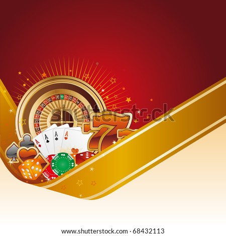 casino design element with gold ribbon - stock vector