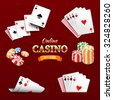 Casino design elements poker chips, playing cards and craps. Poker emblem