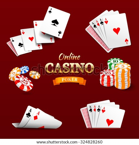 Casino design elements poker chips, playing cards and craps. Poker emblem - stock vector