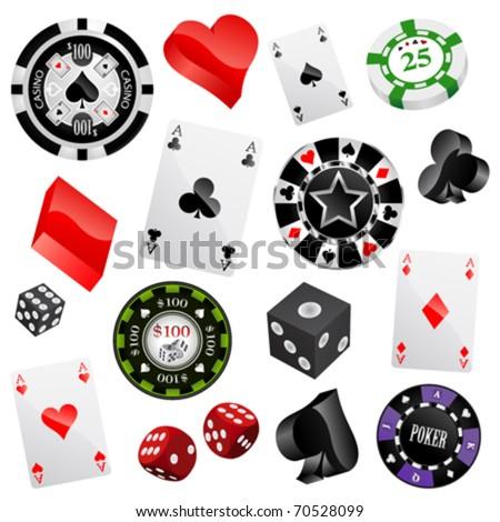 casino design elements vector - stock vector