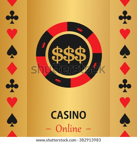 Casino  design elements vector icons. Casino games.Ace playing cards with chips on  background.Set of gambling chip.