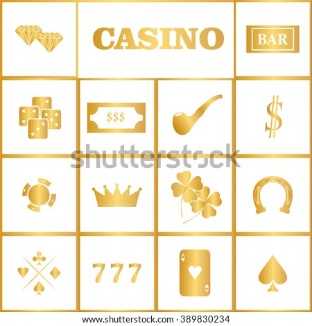Casino  design elements vector icons. Casino games.Ace playing cards with chips on background.Set of gambling chip - stock vector