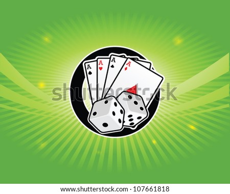 casino dice and cards on a bright green background