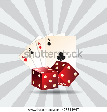 Casino element Poker cards and red dices