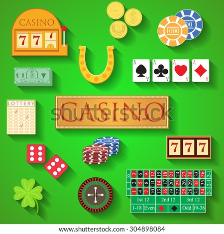 Casino elements Flat design modern vector illustration of casino items, gambling chips, poker cards, roulette, money, dice, ace, coin, cash, horseshoe, bandit, clover, lottery icons with long shadow. - stock vector