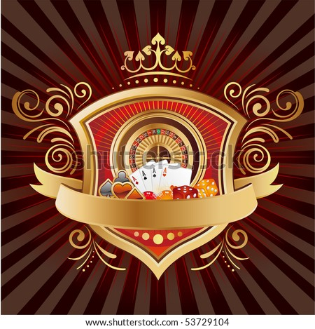 casino elements,shield,crown,black background - stock vector