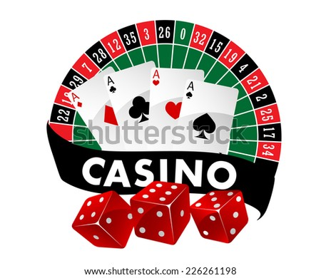 Casino emblem or badge with a roulette table and playing cards above a banner saying Casino and three red dice, vector illustration - stock vector