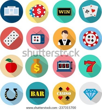 Casino flat icons - stock vector