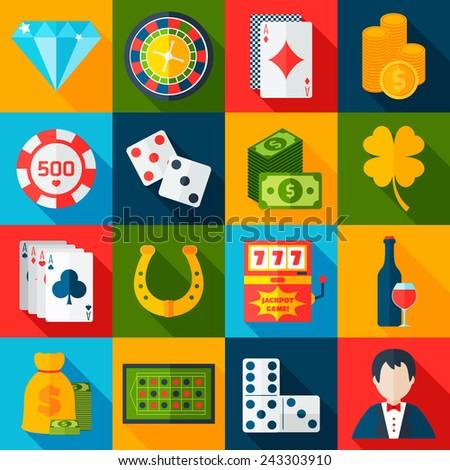 Casino gambling flat icons set with horseshoe slot machine chips isolated vector illustration - stock vector