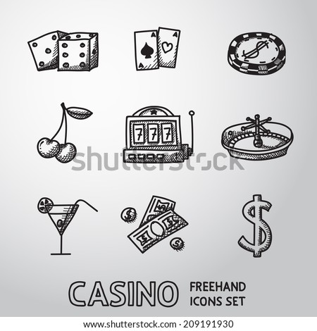 Casino (gambling) freehand icons set with - dice, poker cards, chip, cherry, slot machine, roulette, martini drink, money, dollar sign. vector - stock vector