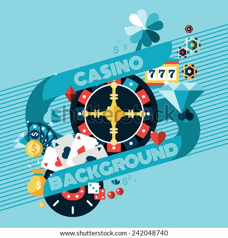 Casino gambling game of fortune background with roulette wheel and chips vector illustration - stock vector