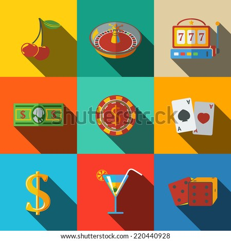 Casino (gambling) modern flat icons set on color squares with  - dice, poker cards, chip, cherry, slot machine, roulette, martini drink, money, dollar sign. vector - stock vector