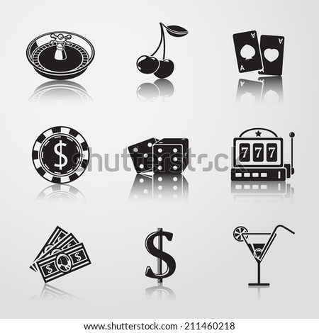 Casino (gambling) monochrome icons set with reflections - dice, poker cards, chip, cherry, slot machine, roulette, martini drink, money, dollar sign. vector - stock vector