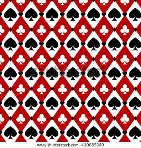 casino gambling poker background with red, black, white cards symbols. Seamless pattern is in the swatches palette. Vector illustration  - stock vector