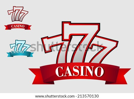 Casino gambling symbol or logo with three seven number, for gamble or success concept design - stock vector