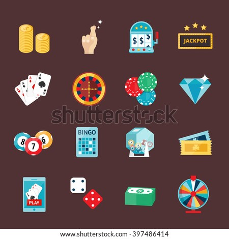 Casino game icons poker gambler symbols and casino blackjack cards gambler money winning icons. Casino icons set with roulette gambler joker slot machine vector icons illustration. Casino concept - stock vector