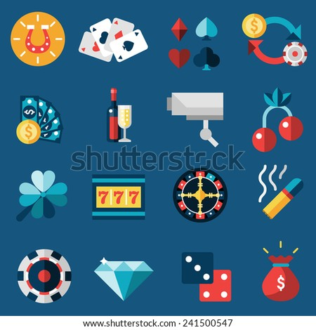 Casino game of fortune gambling and roulette icons set isolated vector illustration