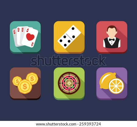 Casino game of fortune gambling, roulette, slot machine icons set isolated vector illustration - stock vector