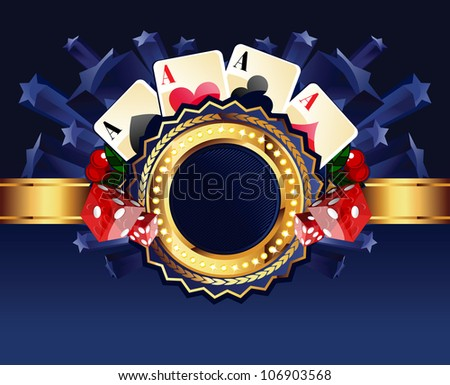 Casino gold-framed composition with cards, dice and cherries on blue star background - stock vector