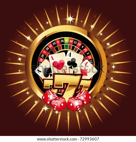 casino gold-framed composition with roulette wheel - stock vector