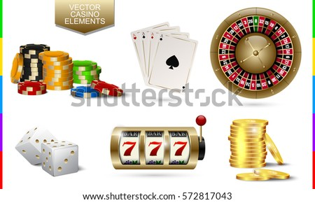 Casino golden icon isolated on white background. Chip, poker card, roulette, slot machine, coins money and white dice set