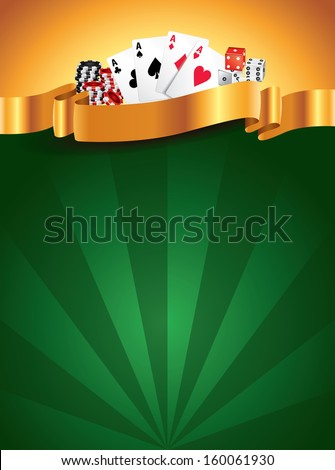Casino green luxury vertical background with golden ribbon - stock vector