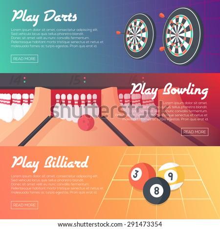Casino Horizontal Banner Set (Darts, Bowling and Billiard). Flat Style. Clean Design. Vector Illustration. - stock vector