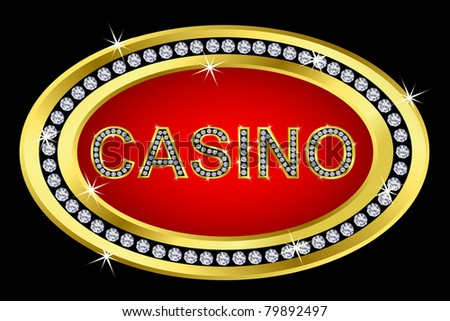 Casino icon golden with diamonds, vector illustration - stock vector