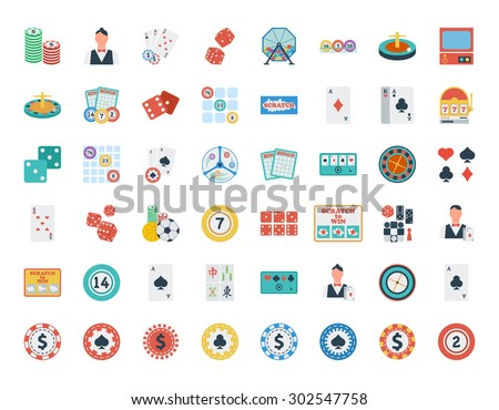 Casino icon set. Flat vector related icon set for web and mobile applications. It can be used as - logo, pictogram, icon, infographic element. Vector Illustration.  - stock vector