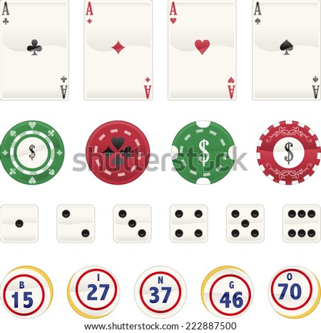 Casino Icon set, with Aces Cards, Poker chips, dices and chips. Vector illustration cartoon.